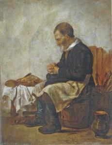 Interieur met een biddende man
