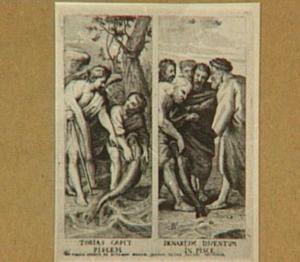 Tobias vangt de wonderbare vis op aanwijzing van de engel Rafaël (Tobias 6:1-10) /  Petrus vindt een geldstuk in een vis om het hoofdgeld te betalen (Matteus 17:24-27)