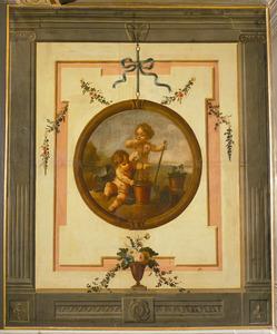 Trompe l'oeil met medaillon verwijzend naar de lente of de reuk