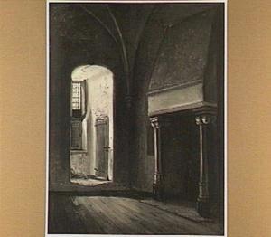 Gezicht van een hoek van de bovenzaal van het huis Dever te Lisse