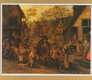 Doedelzakspeler omringd door een menigte kinderen