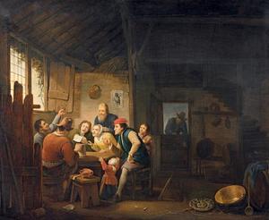 Zingend boerengezelschap in een interieur