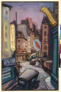 Parijse straat bij nacht