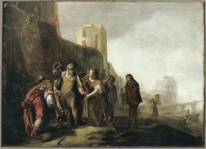 De gezanten van Alexander de Grote bekleden de tuinman Abdalonymos met de insignieën der koningswaardigheid van Sidon (Q. Curtius Rufus 4.1.19-23)