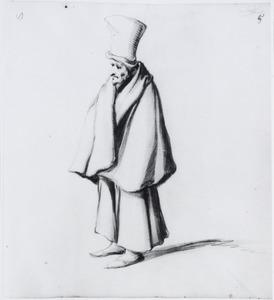Staande oude man met hoge hoed en mantel