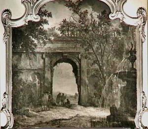 Italianiserend landschap met ruïne en fontein