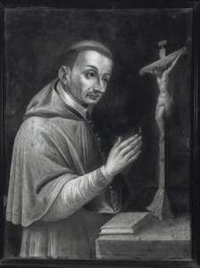 Kardinaal-aartsbisschop Carolus Borromeus SJ van Milaan de crucifix aanbiddend