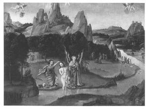 Landschap met de doop van Christus