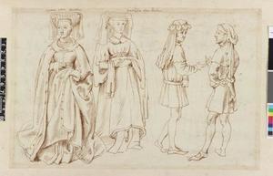 Studie van Otgiva van Luxemburg, Mathilde van Saksen en twee Schotse edellieden