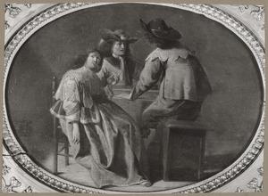 Elegant rokend en triktrakspelend gezelschap in een interieur