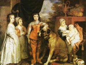 Groepsportret van de vijf kinderen van Charles I, koning van Engeland, met een dog en een spaniël