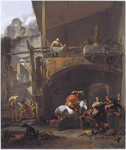 Rustende jagers op de binnenplaats van een herberg bij een Romeinse ruïne