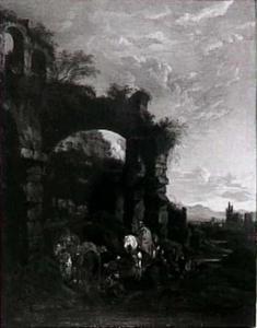 Een zigeunerkamp in een ruïne in de Campagna bij zonsondergang