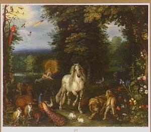 Het paradijs met de schepping van Eva (Genesis 2)