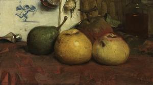 Stilleven met appelen en een peer