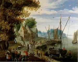 Drukke rivieroever met handelaren en boten