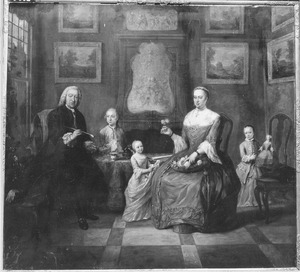 Familieportret van Simon van der Stel (1692-1780) en zijn echtgenote Catharina Keyser (1726-1806) met hun drie kinderen Willem, Maria Jacoba en Catharina Anthonia