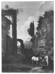 Zuidelijk landschap met reizgers bij een drinkbak, links een herberg in een ruïne