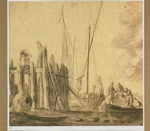 Vissersboten bij een haven