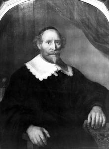 Portret van een man genaamd Van der Poel, burgemeester van Amsterdam