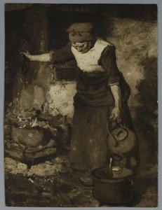 Vrouw met waterketel bij het vuur
