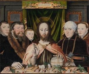 Zegende Christus met stichtersfamilie