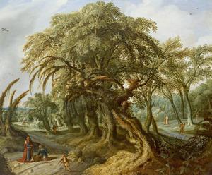 Boslandschap  met Elia , die de weduwe van Sarefat en haar zoon ontmoet aan de stadspoort (1 Koningen 17:10-11)
