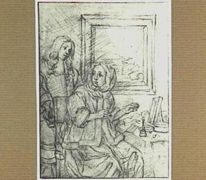 Jongeman met brief en zittende jonge vrouw bij een tafel