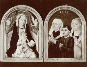 Maria met kind en twee engelen (links); portret van drie stichters (rechts)