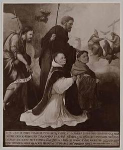 De HH. Johannes de Doper en Thomas (Matteüs of Mattias?) met Herman en Werner van Lochorst. In de achtergrond de kroning van Maria