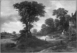 Landschap met een herberg bij een groep bomen