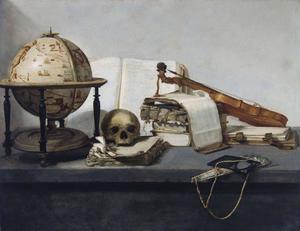 Vanitasstilleven met boeken, een globe, een schedel, een viool en een waaier