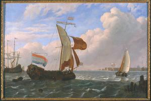 Scheepvaart op het IJ voor Amsterdam