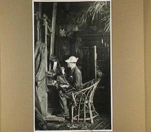 De schilder Jan Linse in het atelier van van Maasdijk aan de Oudedijk te Rotterdam