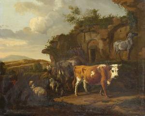 Landschap met vee bij een antieke  ruïne