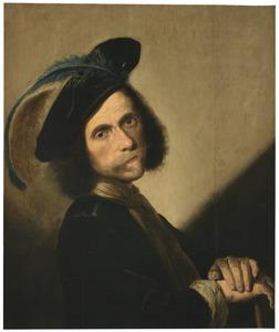Portret van een man met een gevederde baret, wellicht zelfportret