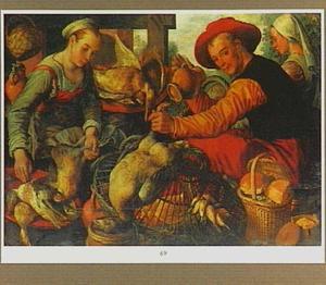 Marktstal met verkopers van gevogelte