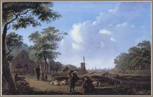 Landschap met herders; op de achtergrond een stad