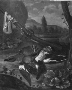 Stilleven met jachtbuit van dode eenden en geweer