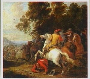 Ruitergevecht bij een bosrand
