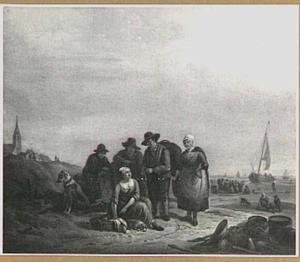 Vissers op het strand van Scheveningen