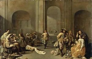 Wachtlokaal met rokende en kaartende soldaten en jonge vrouwen