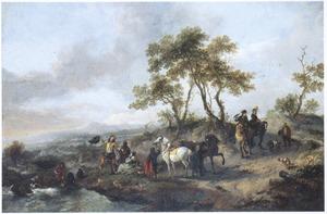 Heuvellandschap met halthoudende jagers