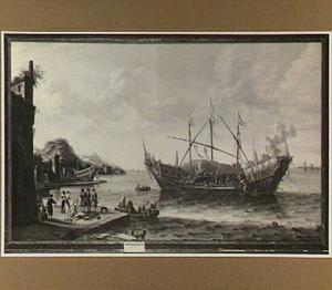 Zuidelijke haven met een brandend schip
