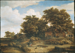 Landschap met huizen tussen bomen