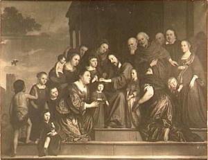 Geertruy Schouten met haar echtgenoot, Bart. Bosch, en hun zeven kinderen in de Bijbelse compositie 'Laat de kinderen tot mij komen'