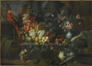 Stilleven van vruchten en bloemen in een architecturale omgeving met papegaaien en een aap