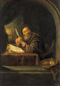 Een man die zijn pen scherpt