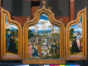 Drieluik met de kruisiging, het stichterspaar en de HH. Petrus en Jacobus de Meerdere