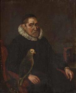 Portret van een 79-jarige man met een papegaai
